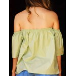 Stylish Off-The-Shoulder Half Sleeves Solid Color Blouse For Women deal