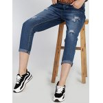 Chic Mid Waist Hole Design Ripped Women's Capri Jeans for sale