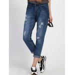 Chic Mid Waist Hole Design Ripped Women's Capri Jeans deal