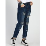 cheap High Rise Ripped Boyfriend Jeans