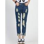 Fashionable Hole Design Loose-Fitting Women's Ripped Jeans
