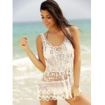 cheap Stylish Scoop Neck See-Through Sleeveless Lace Cover-up For Women