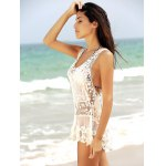 Stylish Scoop Neck See-Through Sleeveless Lace Cover-up For Women deal