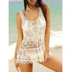 Stylish Scoop Neck See-Through Sleeveless Lace Cover-up For Women