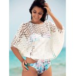 cheap Dolman Sleeve Openwork Cover Ups Bathing Suit