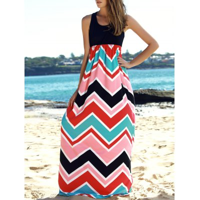 Stylish Scoop Collar Sleeveless Spliced Zig Zag Women's Dress