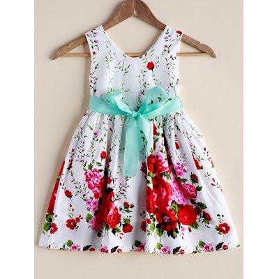 Sweet Floral Print Sleeveless Self-Tie Girl's Dress