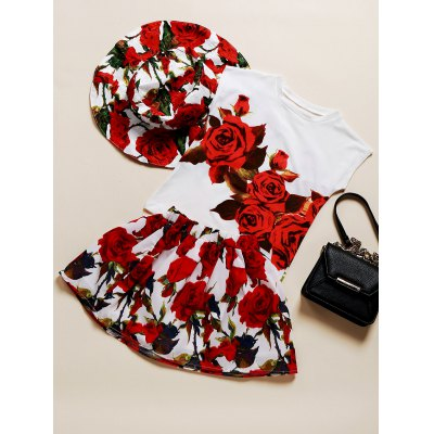 Sweet Floral Hat + T-Shirt + Skirt Three Piece Suit