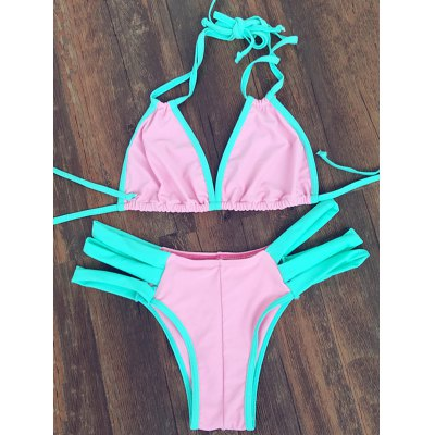 Sweet Color Block Halter Neck Women's Bandage Bikini Set