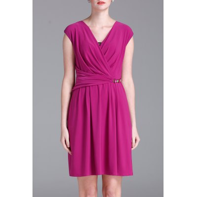 Solid Color Wrap Dress
