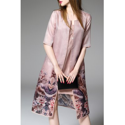 Flower Print Cardigan and Elegant Fitting Dress Twinset