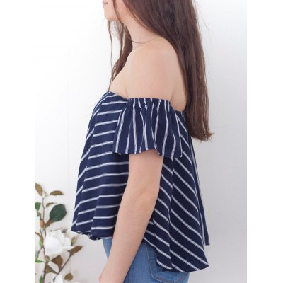 Sweet Off-The-Shoulder Striped T-Shirt For Women