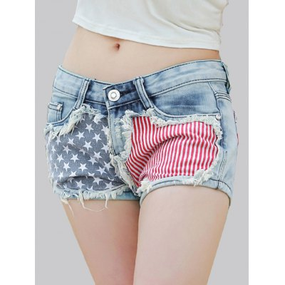 Star Print Striped Women's Denim Shorts