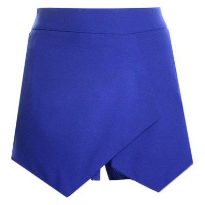 Casual Mid Waist Asymmetrical Design Solid Color Shorts For Women