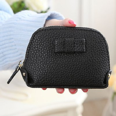 Sweet Solid Color and Bow Design Coin Purse For Women