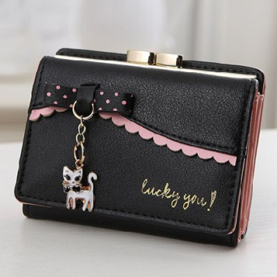 Scalloped Hem Cat Hanging Bow Small Wallet