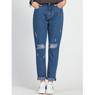Ripped High Waisted Boyfriend Jeans