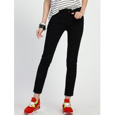 Ripped Plus Size High Waist Black Jeans