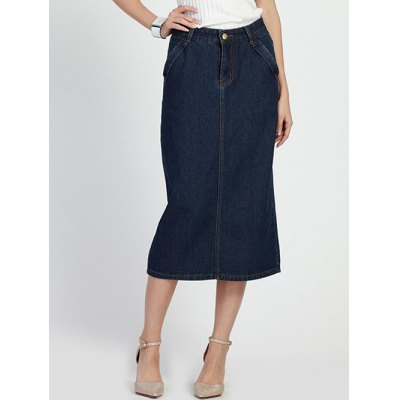 Chic Women's High Waist Bleach Wash Denim Skirt
