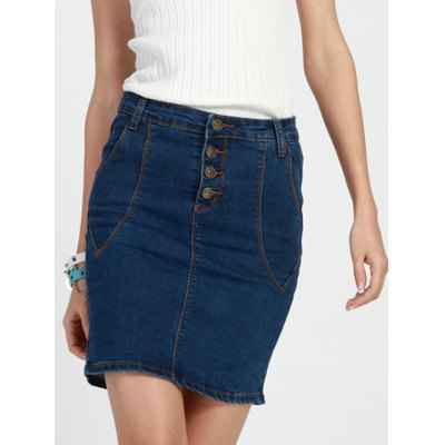 Bleach Wash High Waist Denim Pencil Skirt