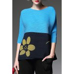 Round Neck Floral Print Ruched Blouse