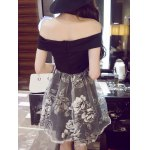 Off-The-Shoulder Organza Spliced Floral Ball Gown Dress deal