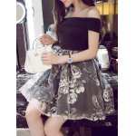 cheap Off-The-Shoulder Organza Spliced Floral Ball Gown Dress
