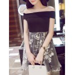 Sweet Off-The-Shoulder Organza Spliced Floral Women's Dress