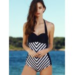 Vintage Halter Striped One-Piece Swimwear For Women for sale