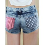 Stylish Star Print Striped Women's Denim Shorts deal