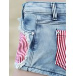 best Stylish Star Print Striped Women's Denim Shorts