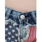 Stylish Star Print Striped Women's Denim Shorts for sale