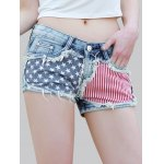 cheap Stylish Star Print Striped Women's Denim Shorts