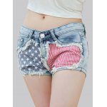 Stylish Star Print Striped Women's Denim Shorts