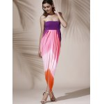 cheap Bohemian Strapless Color Block Hollow Out Slit Dress For Women