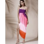 Bohemian Strapless Color Block Hollow Out Slit Dress For Women deal