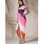 Bohemian Strapless Color Block Hollow Out Slit Dress For Women for sale