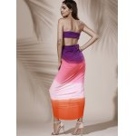 best Bohemian Strapless Color Block Hollow Out Slit Dress For Women