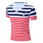 cheap Casual Short Sleeves Striped V-Neck T-Shirt For Men