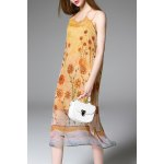 Loose Sunflower Print Silk Dress for sale