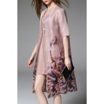 Floral Print Cardigan and Elegant Fitting Dress Twinset for sale