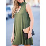 cheap Stylish Keyhole Neckline Sleeveless Solid Color Dress For Women