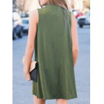 Stylish Keyhole Neckline Sleeveless Solid Color Dress For Women deal