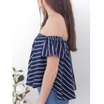 cheap Sweet Off-The-Shoulder Striped T-Shirt For Women