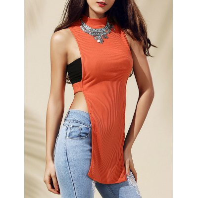 Cut Out Round Neck Pure Color Tank Top