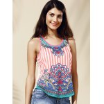 cheap Chic Women's Scoop Neck Lace Ethnic Print Tank Top