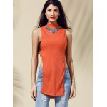 cheap Chic Women's Cut Out Round Neck Pure Color Tank Top