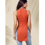 Chic Women's Cut Out Round Neck Pure Color Tank Top for sale