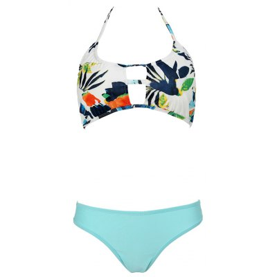 Sweet Floral Halter Neck Hollow Out Bikini Set