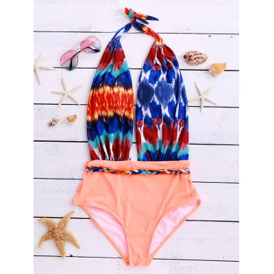 Trendy Halter Printed Spliced Backless One Piece Women's Swimwear